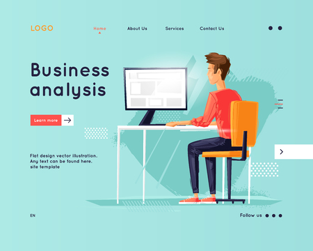 Landing page. Website Template. Teamwork. Business workflow management. Office life, business, programmer. Data analysis. Brainstorming, meeting. Flat design vector illustration Foto de archivo - 118849274