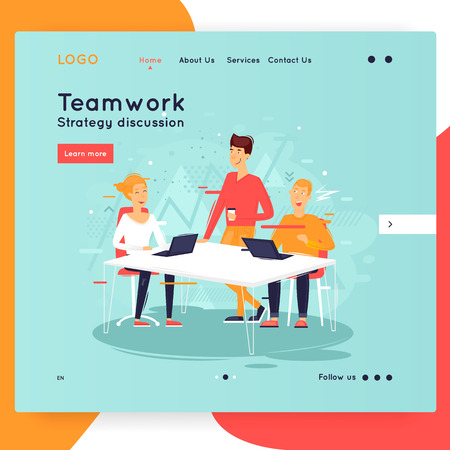Site template, teamwork, brainstorming, conference, concept discussion, meeting. Web page design. Website and mobile development. Flat vector illustration in cartoon style. Illustration