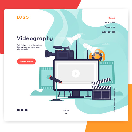 Landing page. Website Template. Videography. Flat design vector illustration Foto de archivo - 118849283