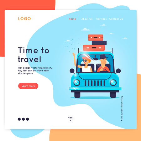 Landing page. Website Template. Time to travel, vacation, Illustration