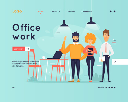 Site template, teamwork, brainstorming, conference, concept discussion, meeting. Web page design. Website and mobile development. Flat vector illustration in cartoon style. Ilustração