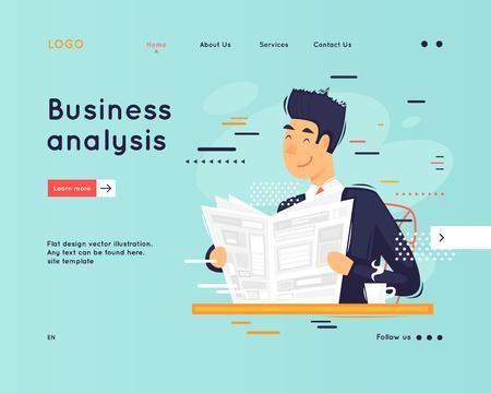 Landing page. Website Template. Teamwork. Business workflow management. Office life, business, programmer. Data analysis. Brainstorming, meeting. Flat design vector illustration  イラスト・ベクター素材