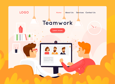 Site template, teamwork, brainstorming, conference, concept discussion, meeting. Web page design. Website and mobile development. Flat vector illustration in cartoon style. Stock Illustratie