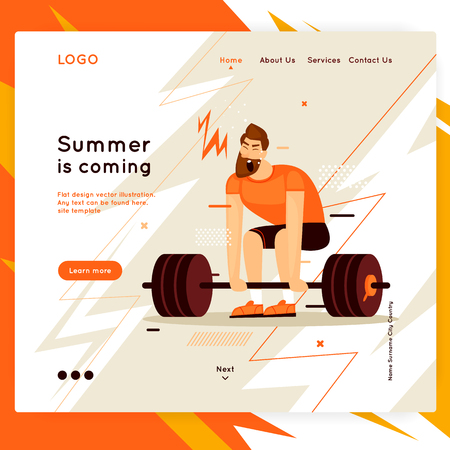 Landing page. Website Template. Sport, fitness, health, man shakes his muscles. Flat design vector illustration Illustration