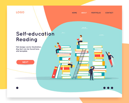 Landing page. Website Template. Reading books. Online library, e-books. Computer with books. Flat design vector illustration