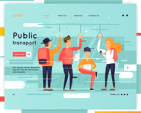 Landing page. Website Template. Public transport. Flat design vector illustration