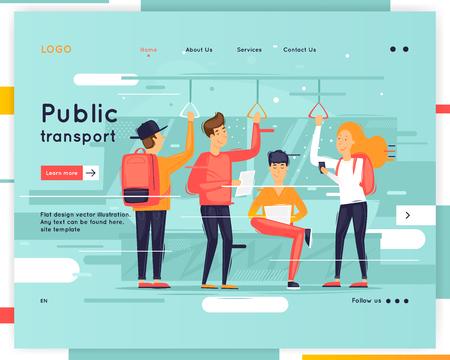 Landing page. Website Template. Public transport. Flat design vector illustration