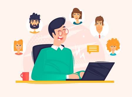 Subscribers, man communicates on the Internet. Flat design vector illustration.
