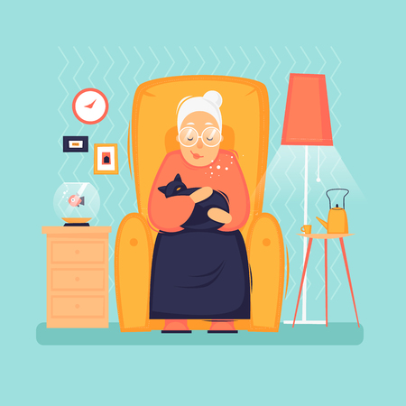 Grandmother sits in a chair holding a cat, interior, pensioner. Flat design vector illustration.