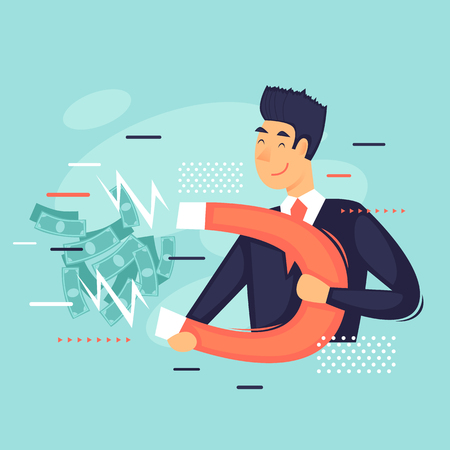 Businessman with a magnet, magnet money, success. Flat design vector illustration.