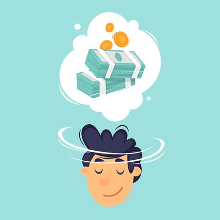 Mann träumt von Geld. Flaches Design-Vektor-Illustration. Vektorgrafik