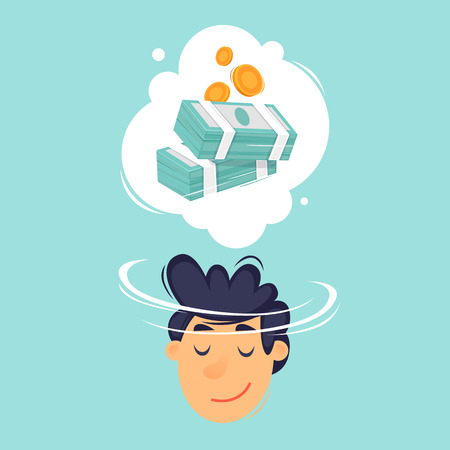Man dreams of money. Flat design vector illustration.
