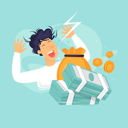 Man is glad a lot of money, success, good luck. Flat design vector illustration.