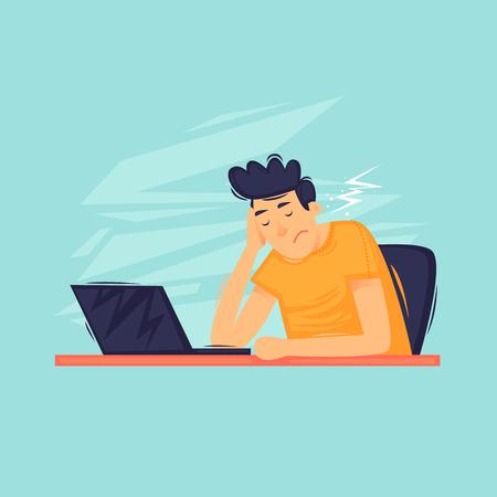 Sad man sitting near the laptop, depression, apathy. Flat design vector illustration. Illustration