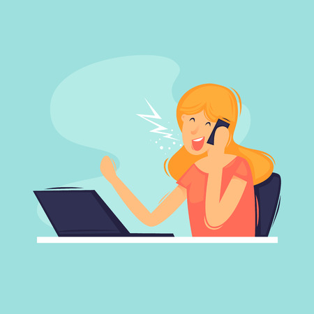 Woman office, secretary, office life, businesswomen. Flat design vector illustration.