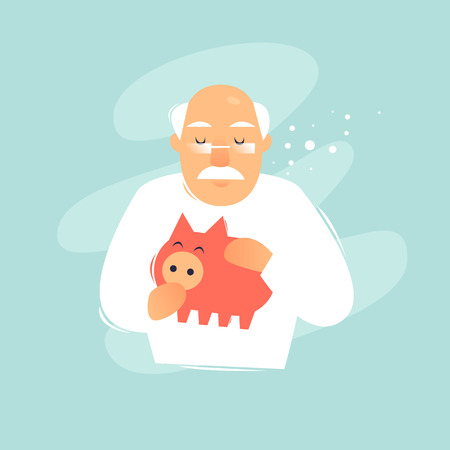 Pensioner holds piggy bank. Pension, savings. Flat design vector illustration.