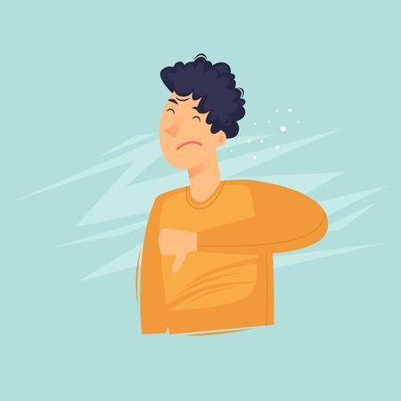 Man shows a finger down. Dislake. Flat design vector illustration. Illustration