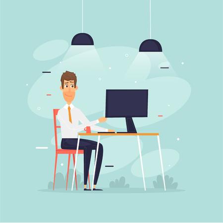 Man sits at a computer, office life, businessman, programmer, data analysis, statistics. Flat design vector illustration.