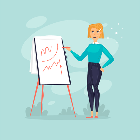 Woman shows a presentation. Business consultation, training, startup. Flat design vector illustration.  イラスト・ベクター素材