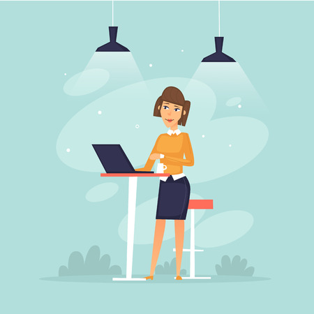 Woman standing working at computer, office life, business, programmer, data analysis, statistics. Flat design vector illustration.