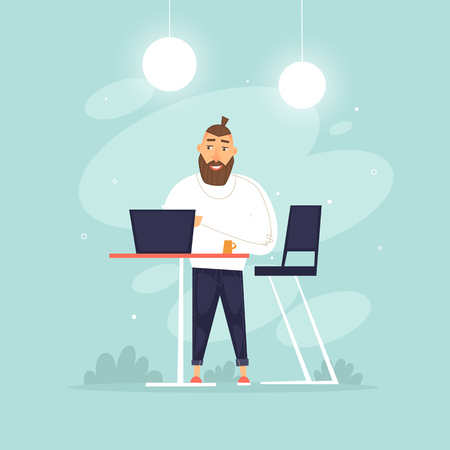 Man stands working behind a laptop, office life, businessman, programmer, data analysis, statistics. Flat design vector illustration.