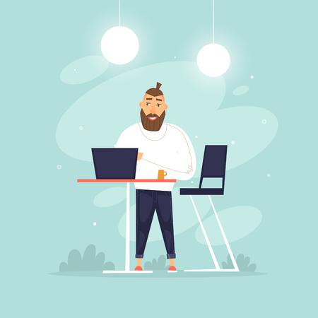Man stands working behind a laptop, office life, businessman, programmer, data analysis, statistics. Flat design vector illustration.