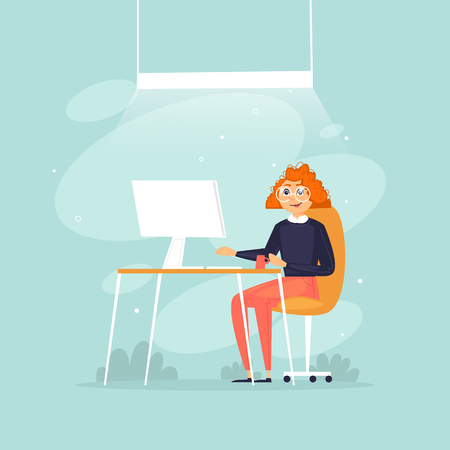 Woman sits working at a computer, office life, business, programmer, data analysis, statistics. Flat design vector illustration.