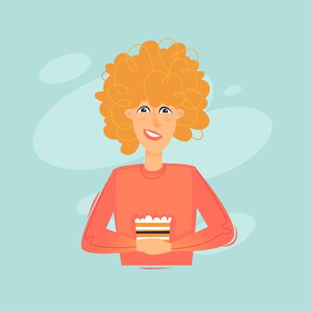 Woman holding a dessert, cake, sweet. Flat design vector illustration.