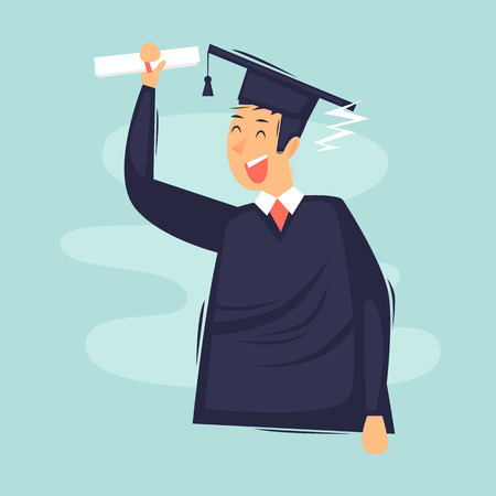 Man graduated with diploma. Flat design vector illustration.