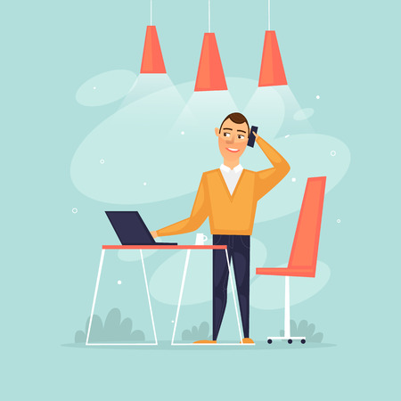 Man stands talking by phone, office programmer, data analysis, statistics. Flat design vector illustration.
