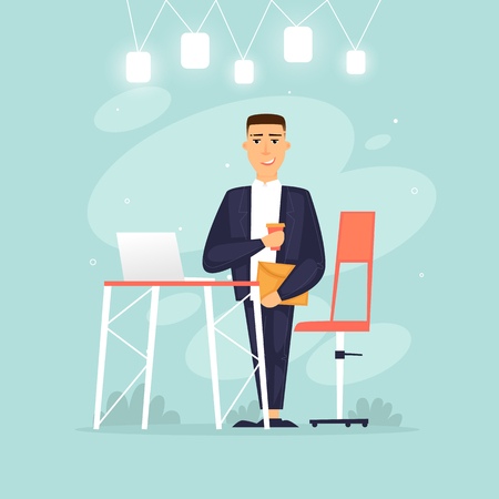 Man?s life, businessman, programmer, data analysis, statistics. Flat design vector illustration.