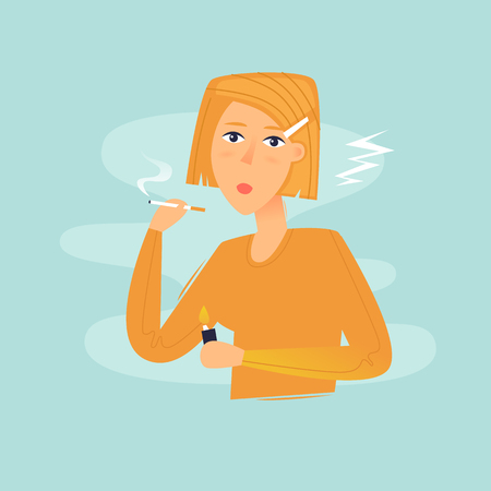 Woman smokes, bad habit, health. Flat design vector illustration.