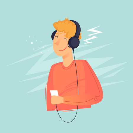Man listening to music on headphones, teenager. Flat design vector illustration. Çizim