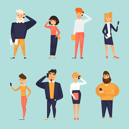 People talk on the phone, characters, business, communication. Flat design vector illustration.