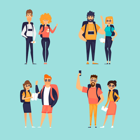 Couples travel, summer, vacation. Character set. Flat design vector illustration.