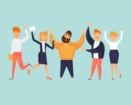 Happy people are jumping. Success team. Friendship. Flat design vector illustration.