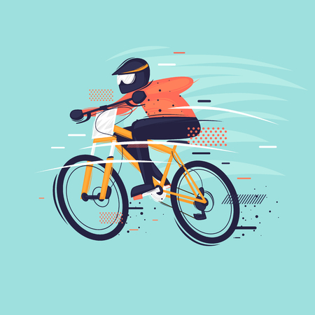 Man rides a mountain bike. Sport, competitions. Flat design vector illustration.