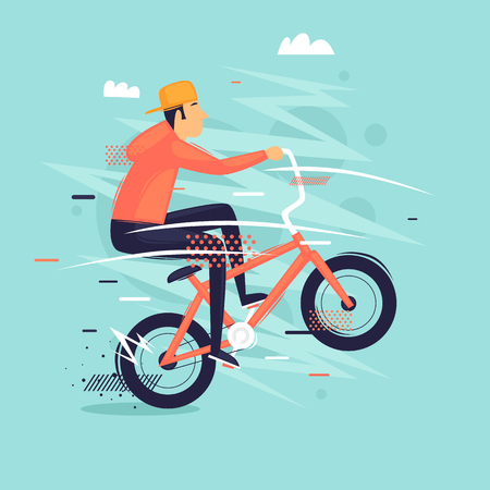 Bmx. Guy does the trick on the bike. Sport, freestyle. Flat design vector illustration.