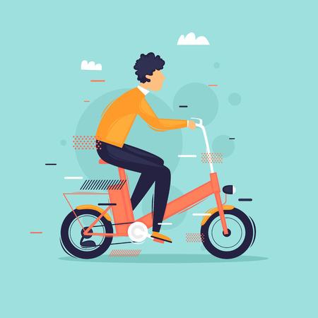 Uomo in sella a una bici elettrica. Illustrazione vettoriale di design piatto. Vettoriali