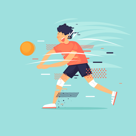 Man plays volleyball, sport, game, character, athlete. Flat design vector illustration.