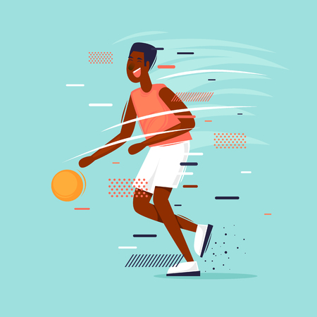 Man plays basketball. Sport. Game, character. Athlete Flat design vector illustration.