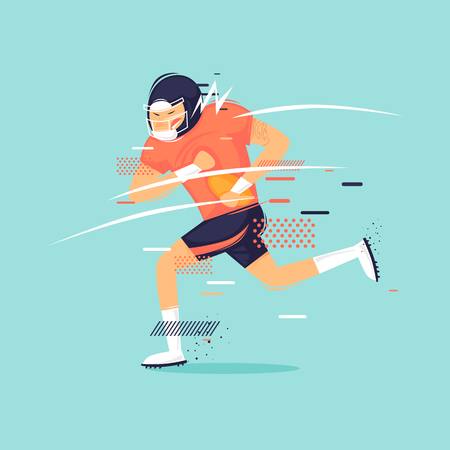 Rugby, man runs with the ball, sport, athlete. Flat design vector illustration. Çizim