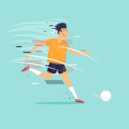 Football, man kicks the ball, sports, athlete. Flat design vector illustration. Çizim