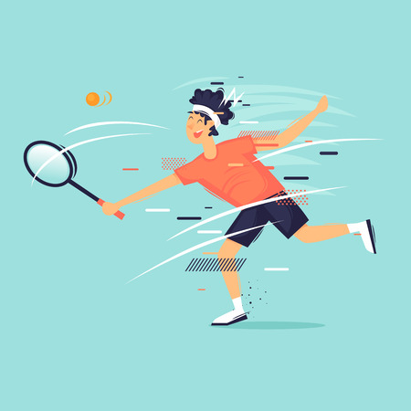 Tennis, a man beats a ball with a racket, sport, athlete. Flat design vector illustration.