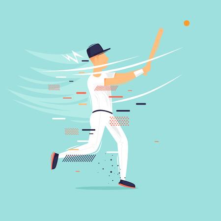 Baseball, man beats ball, sport, athlete. Flat design vector illustration.