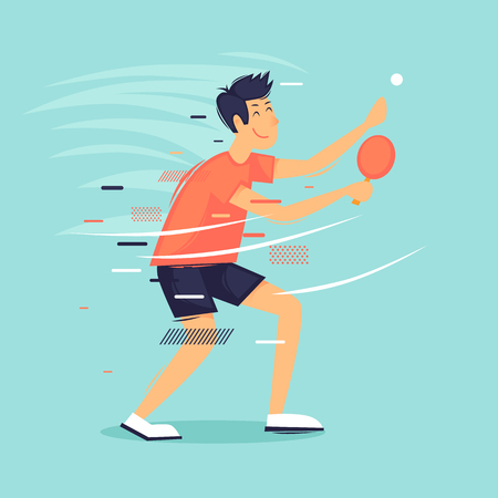 Man plays tennis table, sports, competitions. Flat design vector illustration Çizim