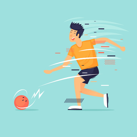 Man plays bowling, sports, competitions. Flat design vector illustration
