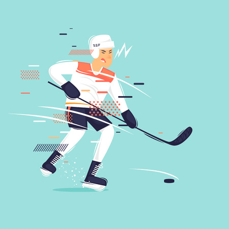 Man plays hockey, sports, competitions. Flat design vector illustration