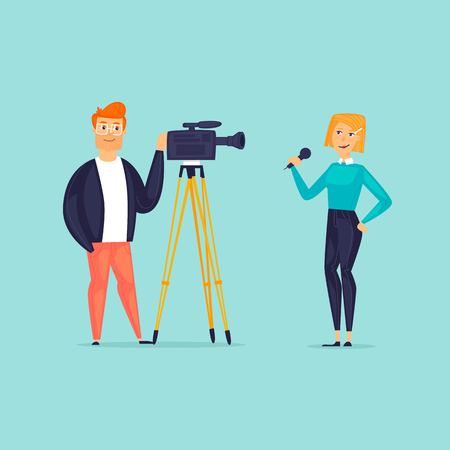 Correspondent and operator. Video filming, reporting. Flat design vector illustration.