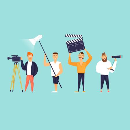 Videography, operator, sound, light, director. Flat design vector illustration.